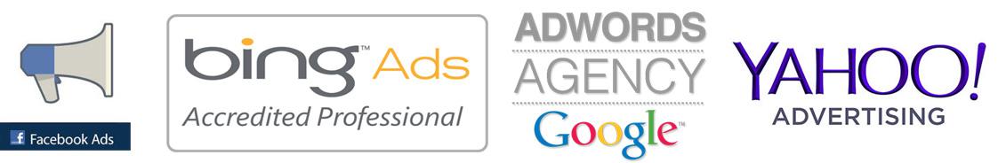 Pay-Per-Click Marketing PPC Logo's Facebook Bing Google AdWords and Yahoo advertising