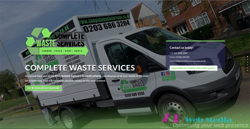 LK Web Media are Pleased to Announce the Launch of Complete Waste Services – New Website